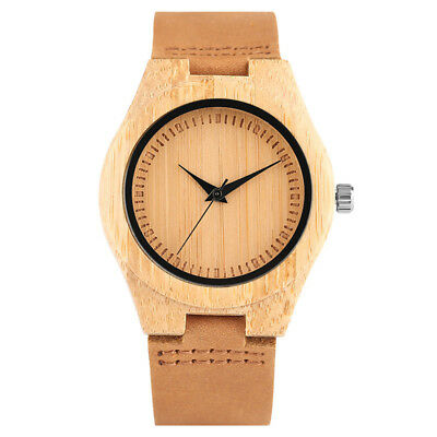 Simple Bamboo Quartz Wrist Watch Women Wood Bangle Leather Strap Brown Dial