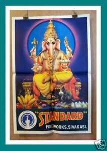 Original Indian Cock Art Fireworks Advertising Poster