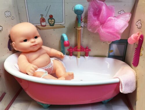 Kids Role Play Toys Baby Doll in Bath Tub Working Shower Set Music /& Accessory