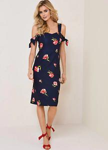 Kaleidoscope-Floral-Print-Cold-Shoulder-Navy-Shift-Dress-Size-18