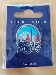 Blackpool-Pleasure-Beach-Pin-Badge-PARK-LOGO-Large-SILVER-NEW-EXCLUSIVE
