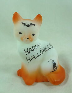 Fenton Sitting Cat Opal Satin Happy Halloween Air Brushed S/C With Bat & Candle
