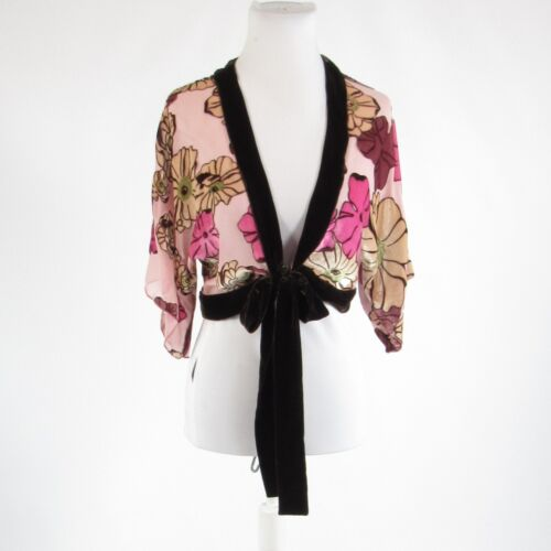 Light pink brown floral print NOTICE short kimono