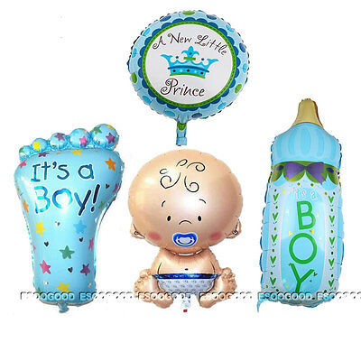 4PCS BOY Foil Helium Balloon for newborn Baby Shower Christening Birthday A+