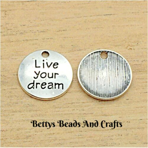 LIVE YOUR DREAM x 10 A91 ANTIQUE SILVER CHARM TRAVEL CHARM GRADUATION