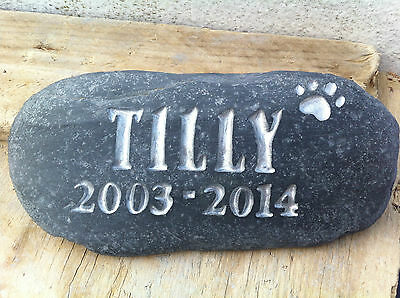 Pet Memorial stone, dog, Loved one personalised plaque, grave marker, with date