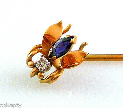 Antique c.1900-10 SIGNED 14K Gold Diamond & Sapphire WINGED INSECT Stick PIN