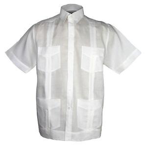 blanco-para-Guayabera-Camisa-100-Forrado-Con-Cuatro-BOLSILLOS-Nuevas-Tallas