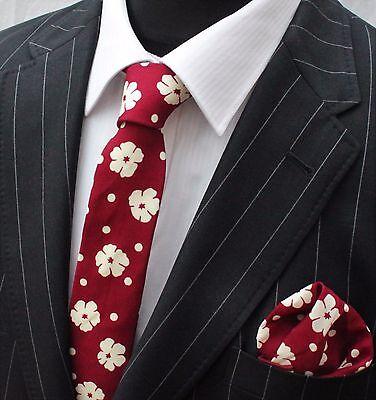 Bellissimo Uomo Cravatta & Fazzoletto Set Rosso Slim Con Qualità Crema Floreale Cotone Mtc07-mostra Il Titolo Originale
