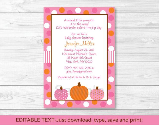 Pink Pumpkin Fall Harvest Printable Baby Shower Invitation Editable PDF