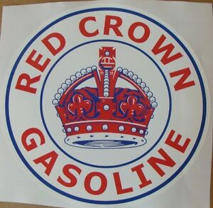 """Red Crown Gasoline Graphic Decal 11.5"""" *Gas & Oil / GAS PUMP STICKERS / PETRO"""