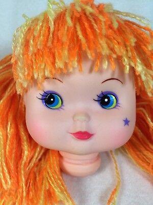 Lot of 5 Vintage Doll Heads Blonde Hair Blue Bonnet Doll Repair Part Craft *NEW*