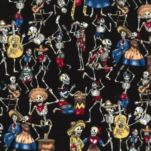100/% Algodón Popelín Tela Rose /& Hubble día de los muertos Fiesta Halloween Calavera