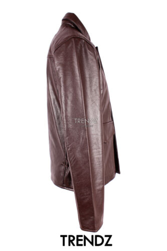 Cowhide Indy Style Men's Leather Smart Jacket Casual Designer Brown Classic G1 8xaq7