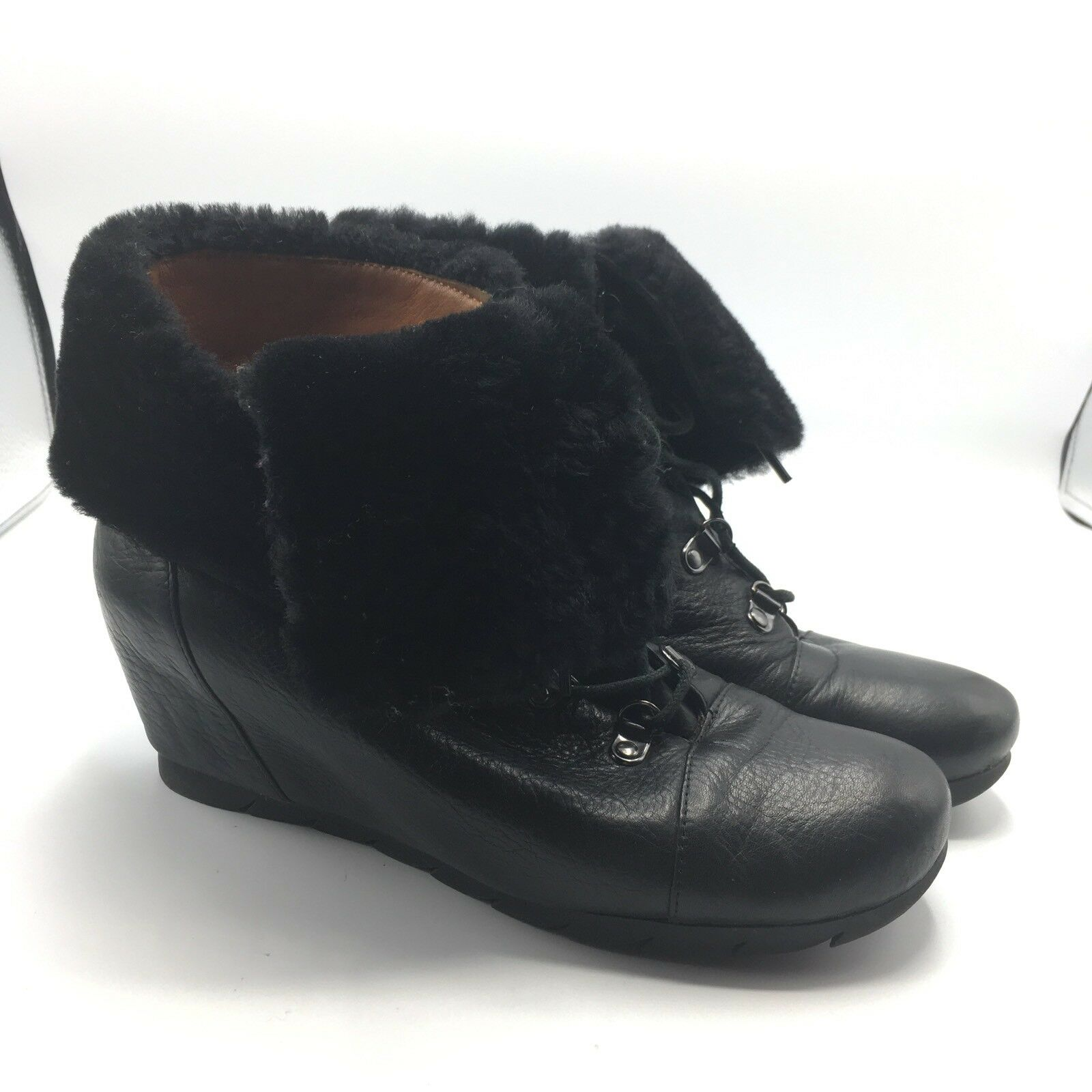 Gentle Souls Barnesicle BLACK Leder Fur Wedge Ankle Boot Lace Up Up Lace Boootie 7.5 5d8476