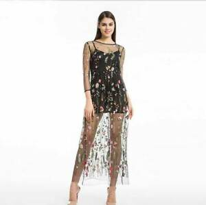 Women-Embroidered-Gauze-Lace-Floral-Sheer-Mesh-Cocktail-Evening-Party-Maxi-Dress