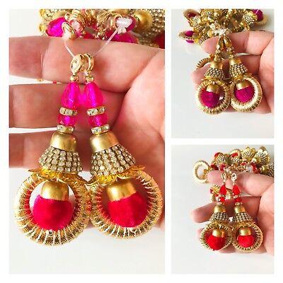 1 Pair Latest Indian Zircon Gold Colour PomPom Latkan Tassel Sari Blouse Duppata