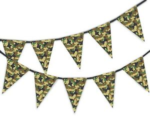 Green-Classic-Army-Camouflage-Military-Bunting-Banner-15-flags-by-PARTY-DECOR