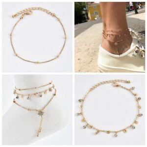 Women-Ankle-Bracelet-Rhinestone-Gold-Anklet-Foot-Chain-Boho-Beach-Jewelry-New