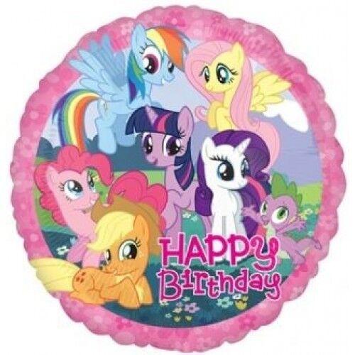"""Mi Pequeño Pony Feliz Cumpleaños 18/"""" Redondo Aluminio Globo De Helio Fiesta Decoración"""