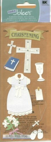 BAPTISM Christening Gown Cross Bible Scriptures Rosary Necklace Jolee/'s Stickers