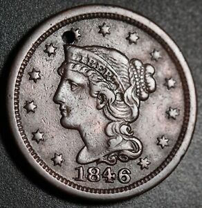 1846-BRAIDED-HAIR-LARGE-CENT-With-REPUNCHED-DATE-RPD-HOLED