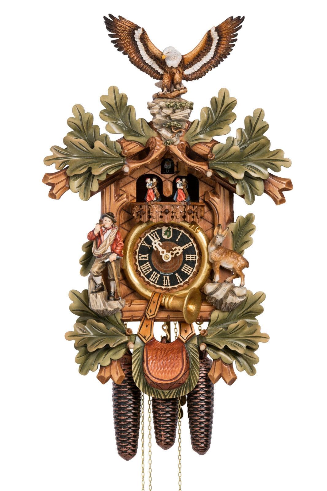 Cuckoo clock black forest 8 day original german hunter wood music new painted ebay - Wooden cuckoo clocks ...