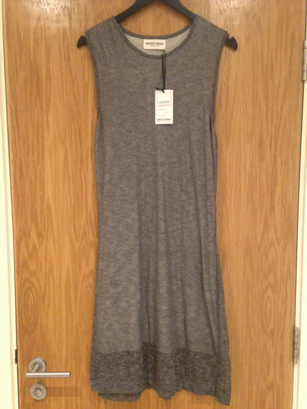 "Designer Genevieve Sweeney Elysa Large Woman's grau & Blau Dress 36"" Bust BNWT"