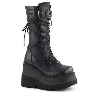 Demonia SHAKER-70 Black Cosplay Goth Combat Wedge Platform Mid-Calf Knee Boot