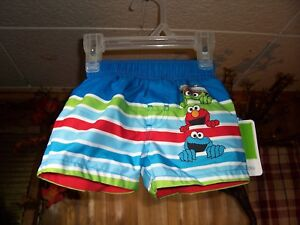 7d57f84635 SESAME STREET INFANT SWIMMING TRUNKS SIZE 0-3 MONTHS BLUE ELASTIC ...