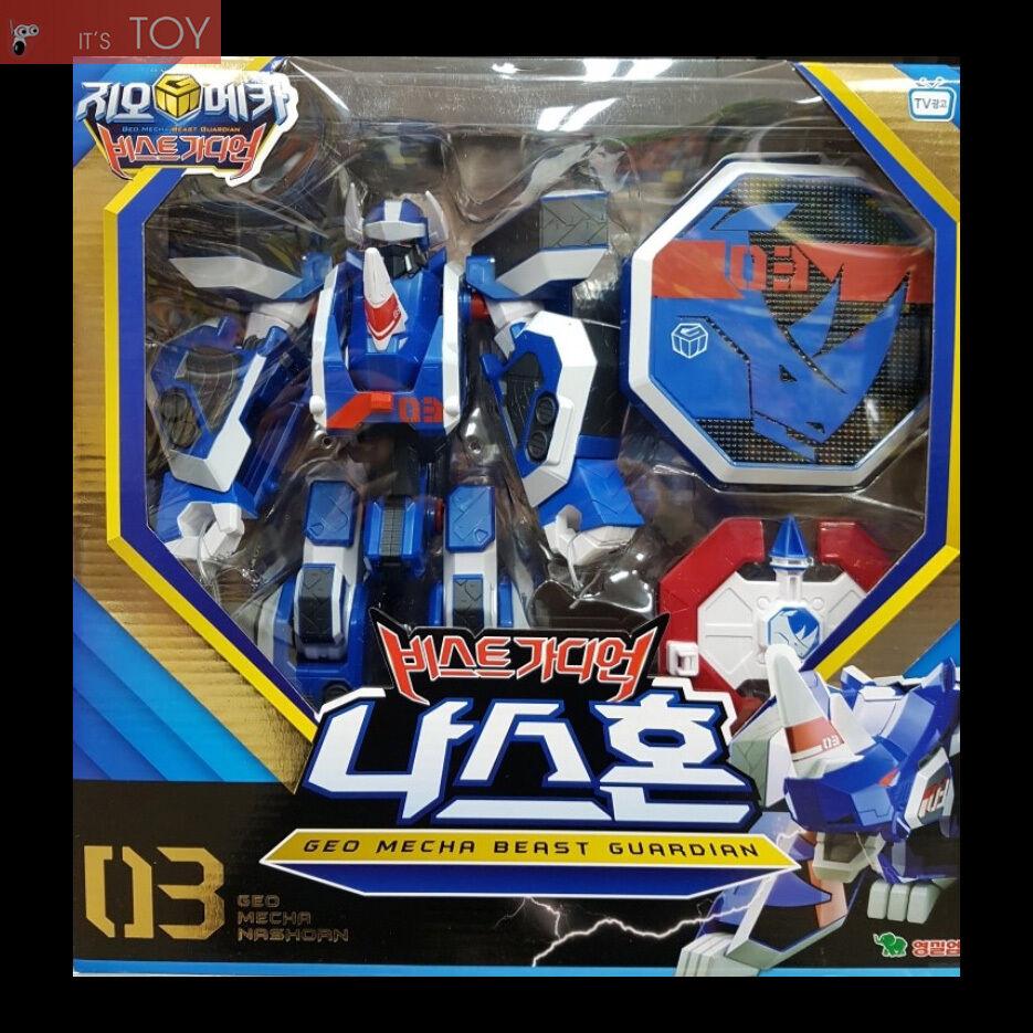 Geo Mecha Beast Beast Beast Guardian 03 NASHORN bluee Rhino Transformer Robot Young Toys 2016 27eb73