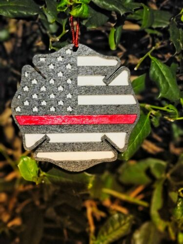 Details about  /Police Officer or Fire Fighter Ornament Fire or Police Gift Thin blue//red line