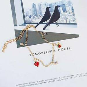 Bracelet-Strawberry-Rhinestone-Pendant-Bracelet-Charm-Alloy-Chain-Bangle-CB
