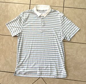 Travis-Mathew-Mens-Striped-Golf-Short-Sleeve-Polo-Shirt-Mens-Size-XL