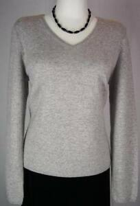 NWT-Charter-Club-Platinum-Gray-100-Cashmere-Sweater-V-Neck-PS-Petite-New