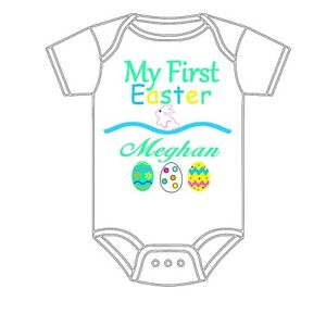 87de0e976d74 Image is loading PERSONALIZED-CUSTOM-MADE-MY-FIRST-EASTER-GERBER-ONESIE-