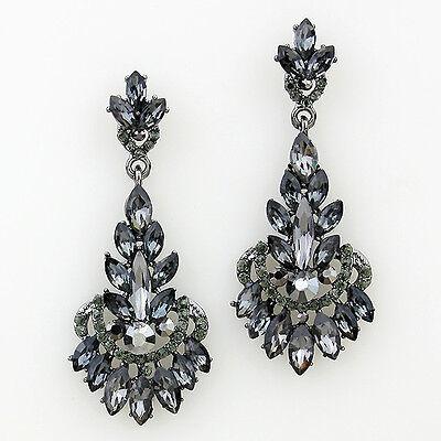 Vintage Inspired Shourouk Black Diamond Crystal Earrings (Sparkle-2139)