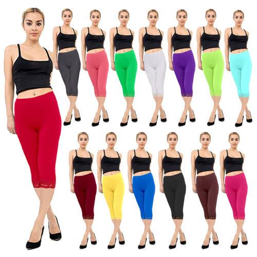 Femmes Uni Extensible Nouveau 3//4 Capri viscose dentelle Leggings Plus Taille 8-26
