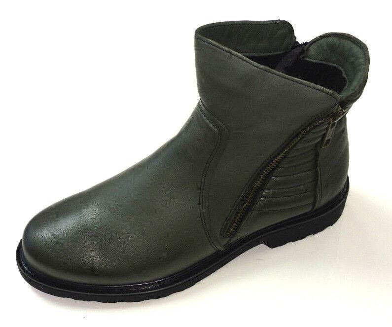 Gemini Damen Schuhe Stiefel Stiefelette Stiefel 61175 grün Leder Warmfutter