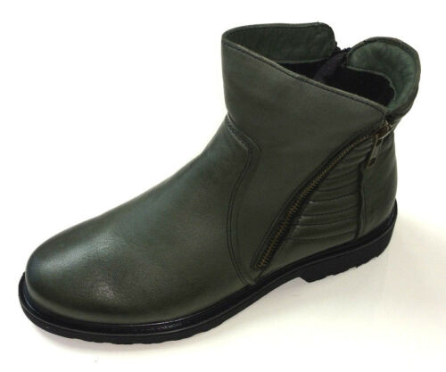 Gemini Damen Schuhe Stiefel Stiefelette Boots 61175 grün Leder Warmfutter