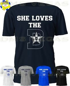newest f9d2b d8456 Details about Dallas Cowboys She Loves The D 8 Troy Aikman Jersey Tee Shirt  Men Size S-5XL
