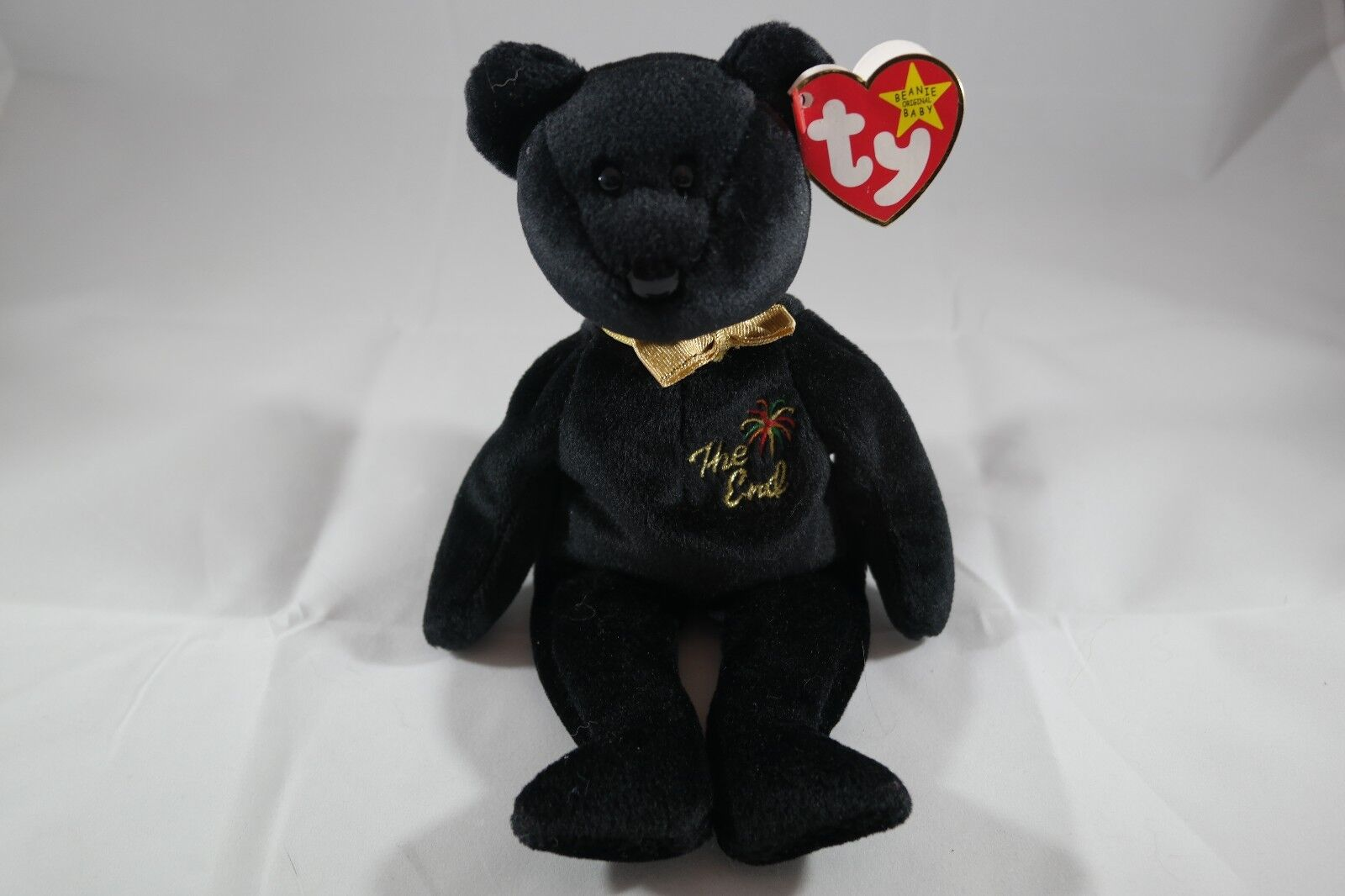 The End  Bear TY Beanie Baby 1999 With RARE TAG Single Flop In Mint Condition