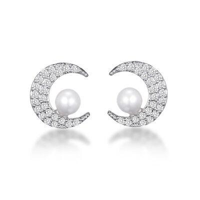 Elegant Bridal Silver Moon White Pearl Small Luxury Women Earrings Studs E1428