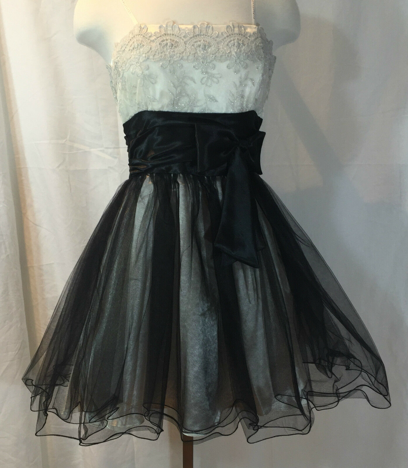 MASQUERADE SHORT STRAPLESS PARTY DRESS BEADED Weiß BODICE LAYErot TULLE SKIRT 7