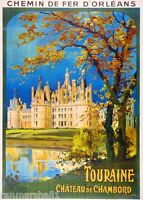 1930s Chateau de Chambord France French European Travel Art Poster Advertisement