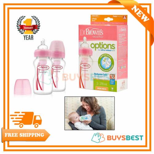 2 X opciones Dr Browns Cuello Ancho bebé los biberones Set 270 Ml Rosa-dbwb 92305