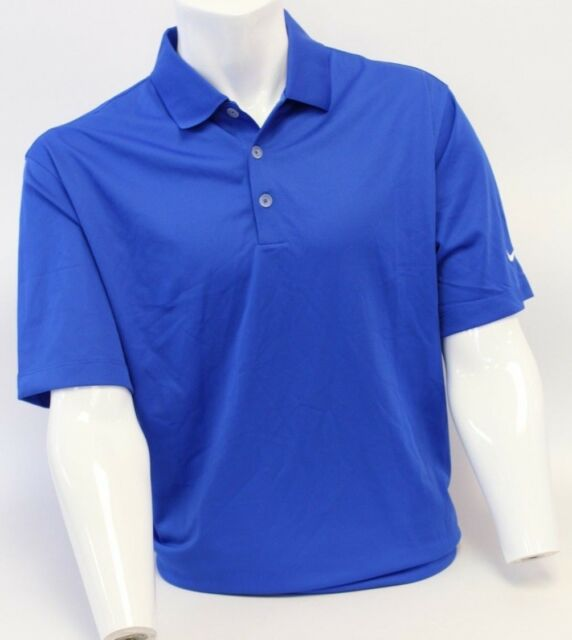 34122f38 Nike Men Golf Shirt Size Large Blue Dri Fit Cot Knit Feel 823233687035