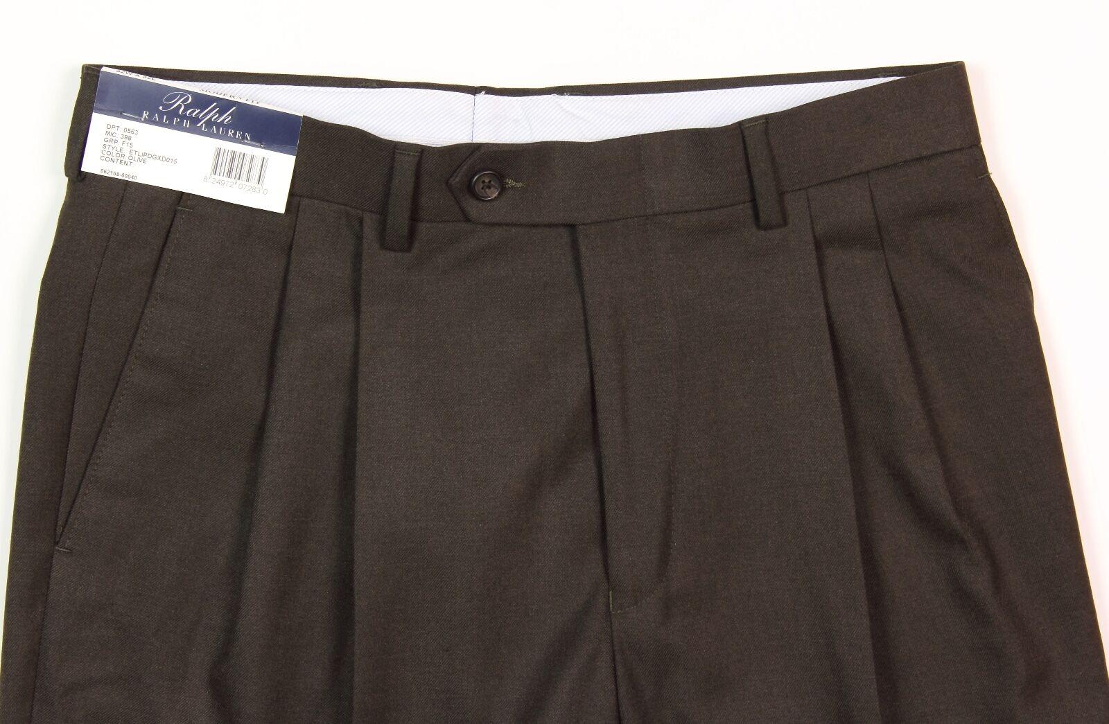 Men's RALPH LAUREN Olive Green   Brown Dress Pants 34x34 34 NWT NEW Comfort Flex