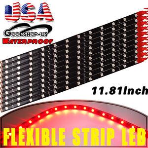 "10X 30CM//12/"" Red Waterproof Car Motorcycle ATV Truck Flexible Light Strip 12V US"