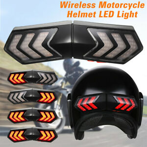 Motorcycle-Helmet-LED-Safety-Brake-Stop-Turn-Signal-Indicator-Light-Wireless-US
